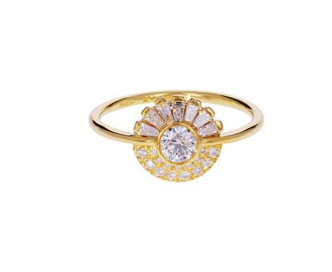 Round and Baguette Diamond Halo Ring - TWISTonline