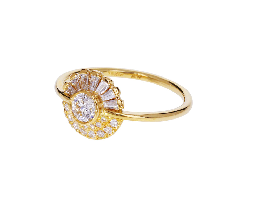 Round and Baguette Diamond Halo Ring