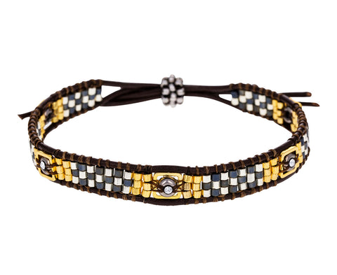 Swarovski Crystal and Miyuki Bead Brown Leather Bracelet - TWISTonline