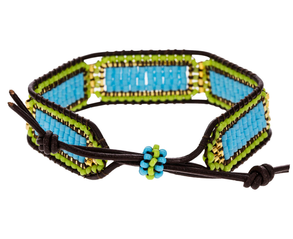 Blue and Green Miyuki Beaded Bracelet