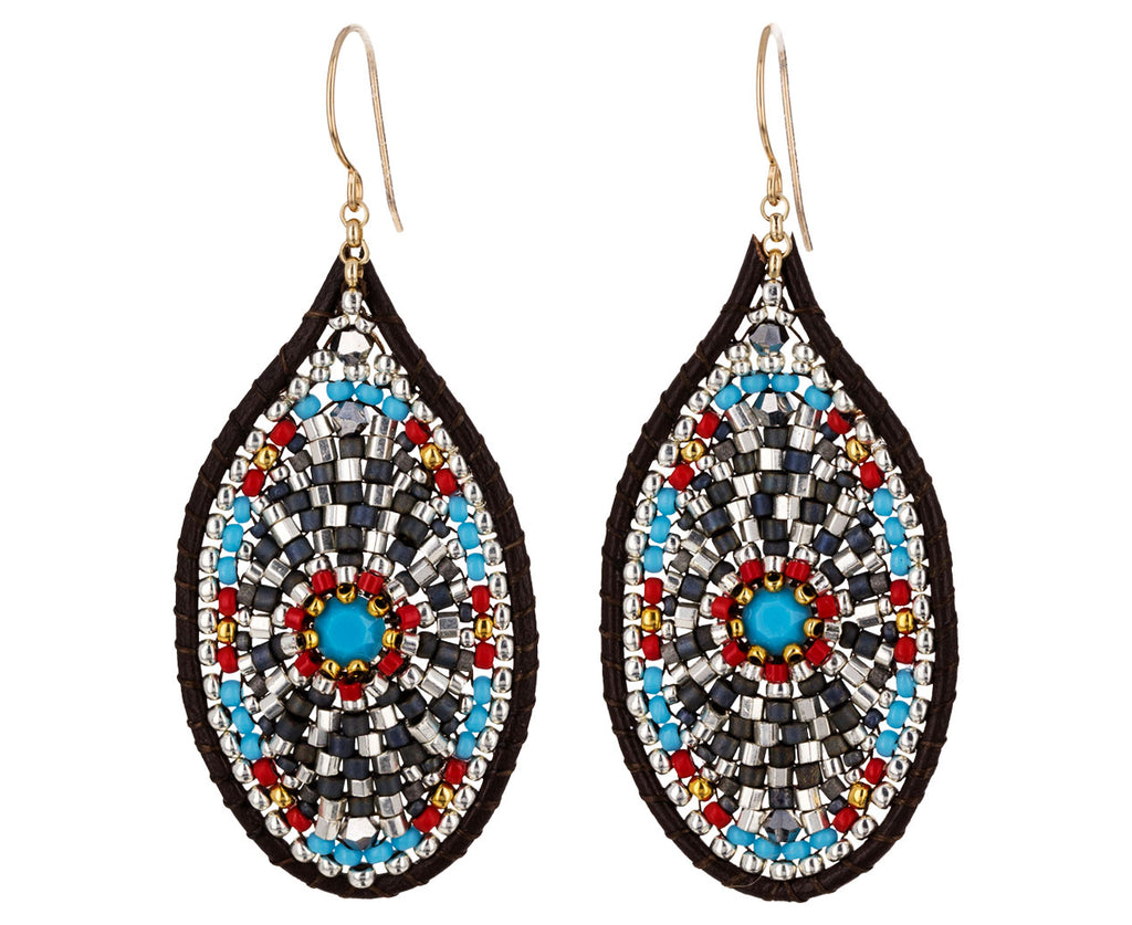 Beaded Oval Dangle Earrings