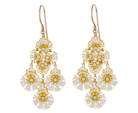 White Opalite and Miyuki Beaded Earrings - TWISTonline