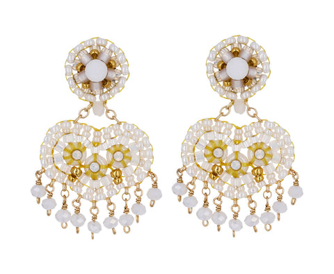 White Swarovski Dangle Earrings - TWISTonline
