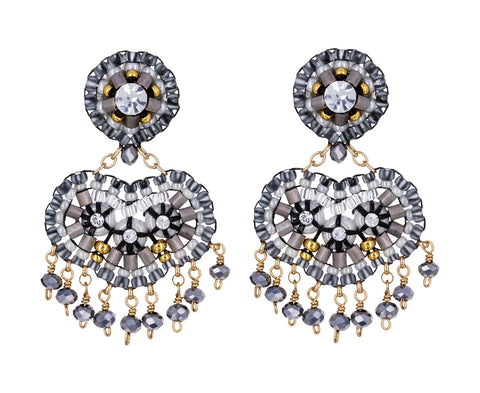 Swarovski and Gray Miyuki Beaded Dangle Earrings - TWISTonline