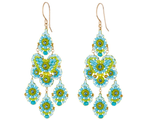 Blue and Green Miyuki Bead Drop Earrings