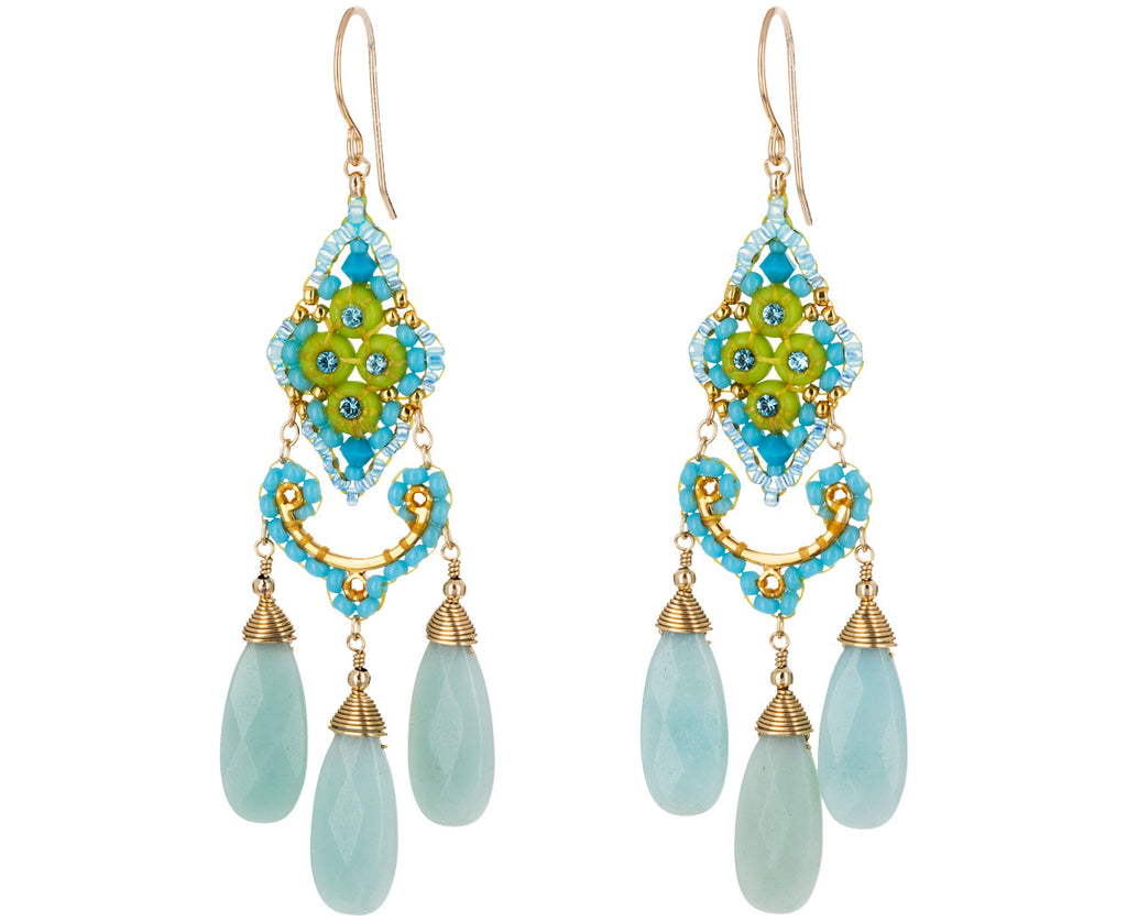 Miyuki, Swarovski and Amazonite Dangle Earrings