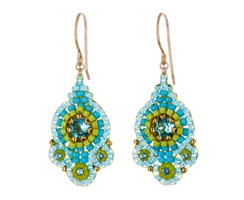 Blue Swarovski Crystal and Miyuki Beaded Earrings