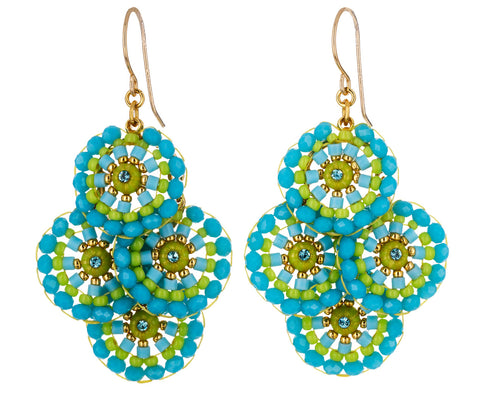 Turquoise and Green Miyuki Beaded Earrings