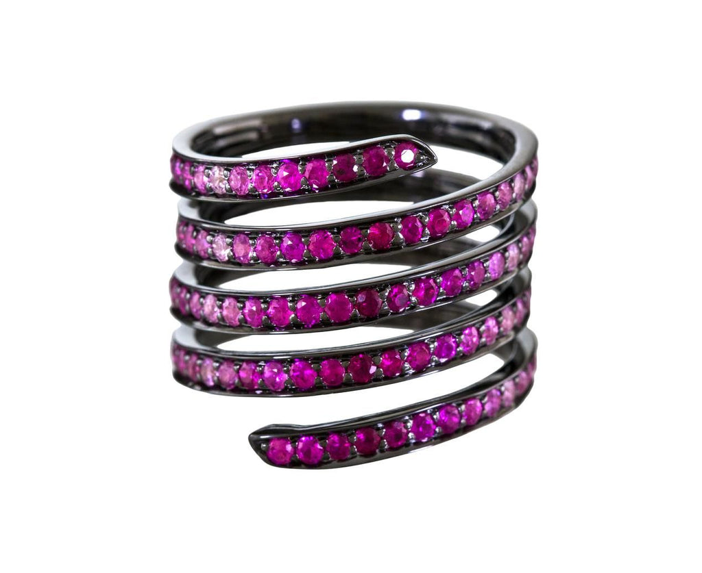 Ombre Ruby and Pink Sapphire Coil Ring - TWISTonline