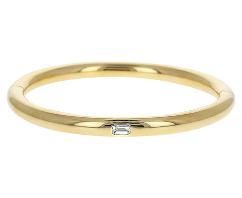 Gold and Emerald Cut Diamond Bangle