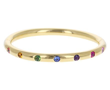 Rainbow Sapphire Narrow Bangle Bracelet