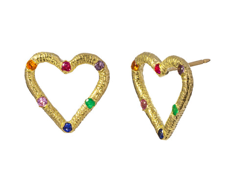 Multi Gem Textured Heart Earrings