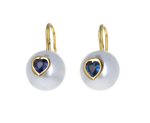 Pearl and Blue Sapphire Heart Earrings