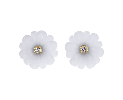 White Agate and Diamond Wildflower Stud Earrings