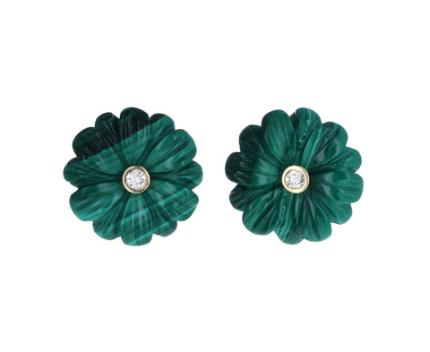 Malachite and Diamond Wildflower Stud Earrings