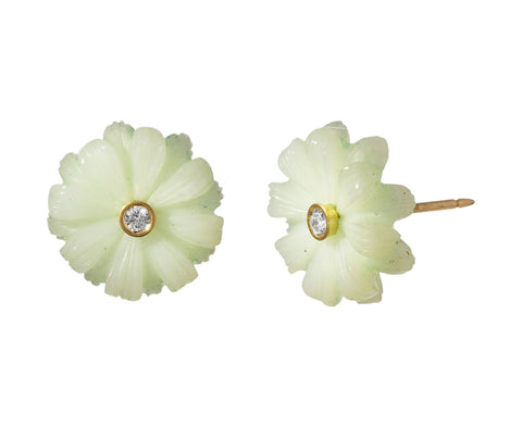 Small Peruvian Opal and Diamond Flower Earrings