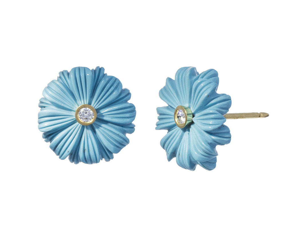 Turquoise Diamond Wildflower Earrings