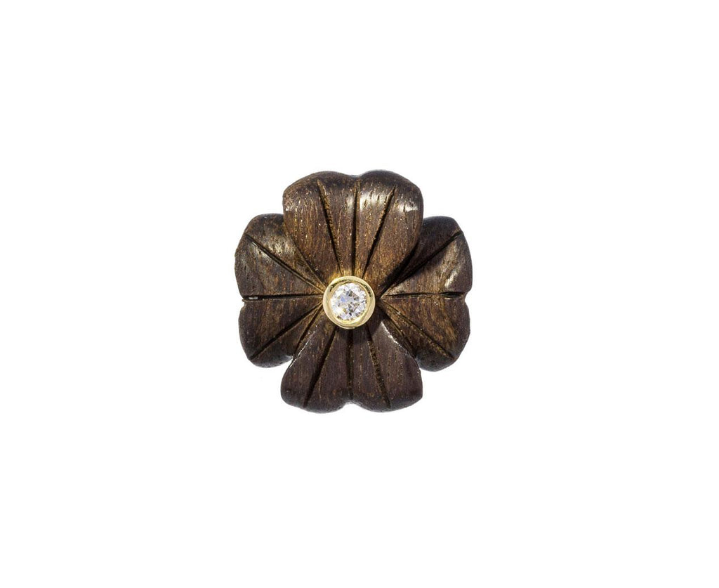 Small Ebony Diamond Clover Flower SINGLE Earring zoom 1_brent_neale_gold_ebony_wood_clover_stud_earring5