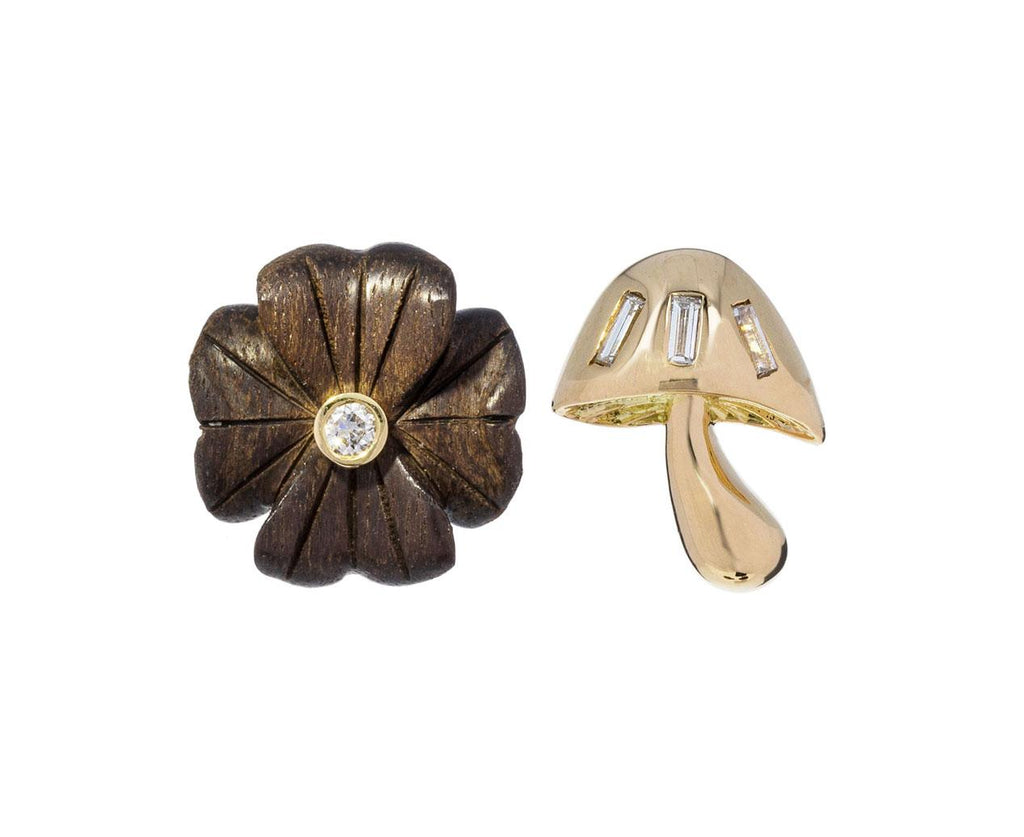 Small Ebony Diamond Clover Flower SINGLE Earring zoom 3_brent_neale_gold_ebony_wood_clover_stud_earring5