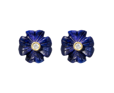 Small Lapis Diamond Clover Earrings