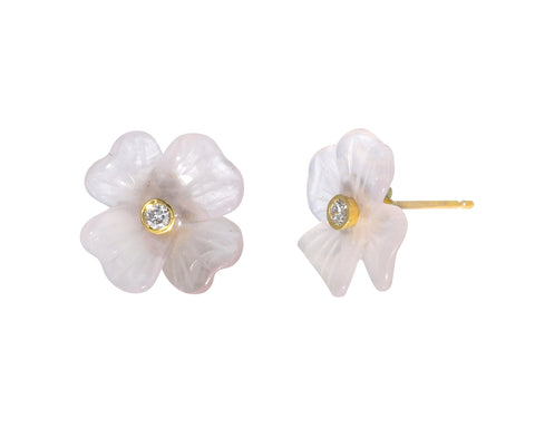 Rose Quartz Clover Studs