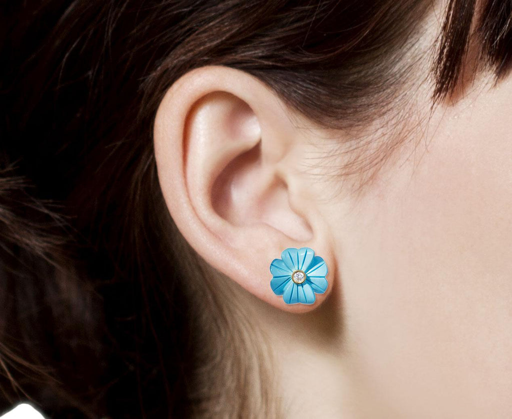 Small Turquoise Diamond Clover Flower SINGLE Earring - TWISTonline