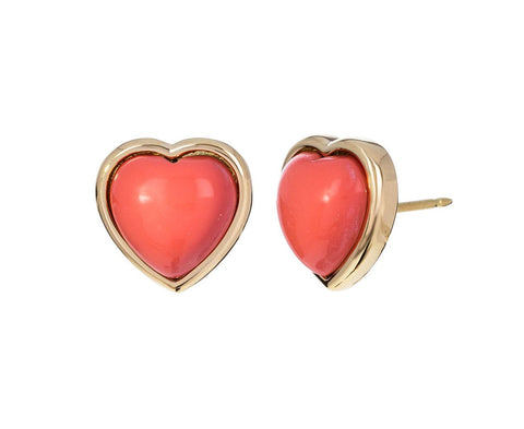 Small Natural Coral Puff Heart Earrings - TWISTonline