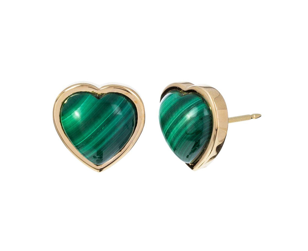 Small Malachite Puffy Heart Earrings - TWISTonline