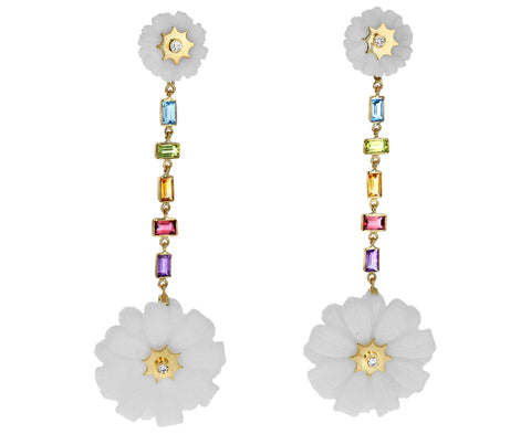 White Agate and Multi Gem Double Wildflower Drop Earrings