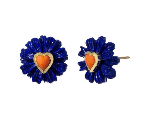Lapis Wildflower and Coral Heart Stud Earrings - TWISTonline