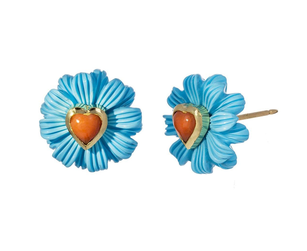Turquoise Wildflower and Coral Heart Earrings - TWISTonline