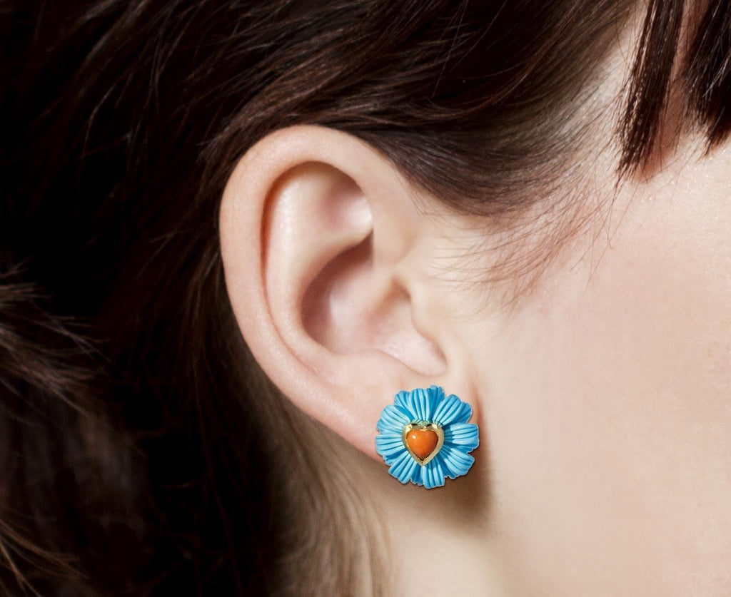 Turquoise Wildflower and Coral Heart Earrings zoom 8_brent_neale_coral_heart_turqouise_wildflower_ear