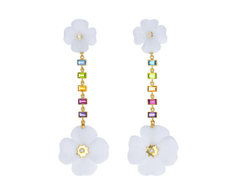 White Agate and Multi Gem Clover Drop Earrings