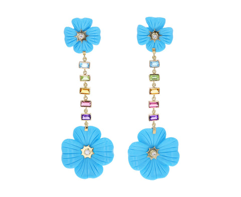 Turquoise and Multi Gem Double Clover Rainbow Earrings
