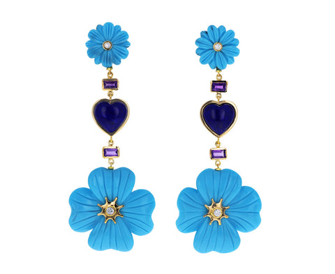 Turquoise Wildflower and Lapis Heart Drop Earrings