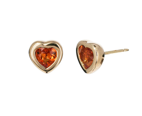 Orange Sapphire Mini Heart Earrings