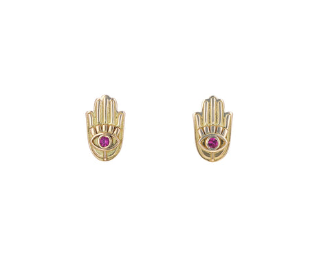 Ruby Hamsa Hand Stud Earrings