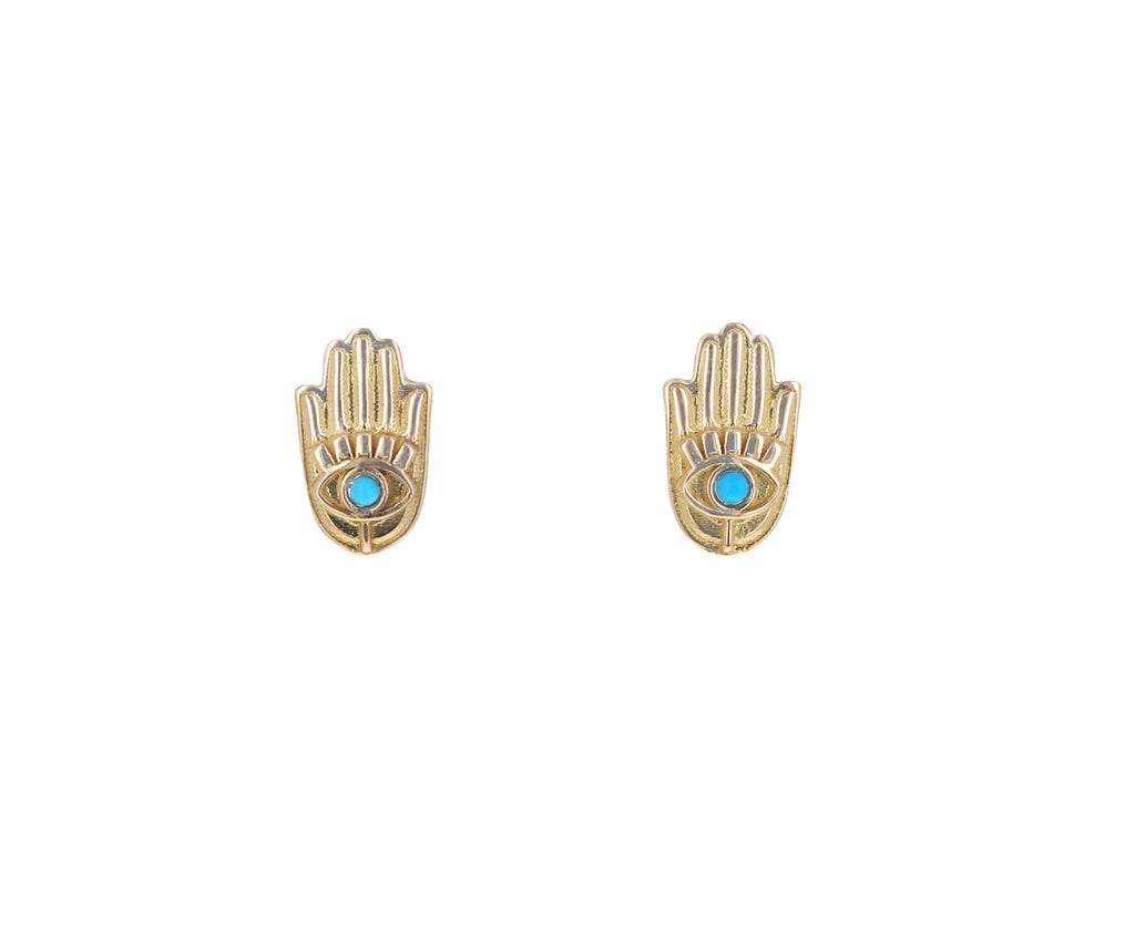 Turquoise Hamsa Hand Stud Earrings