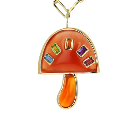 Carnelian and Multi Gem Baguette Magic Mushroom