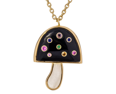 Onyx, Multi-Gem and Rainbow Moonstone Magic Mushroom Necklace