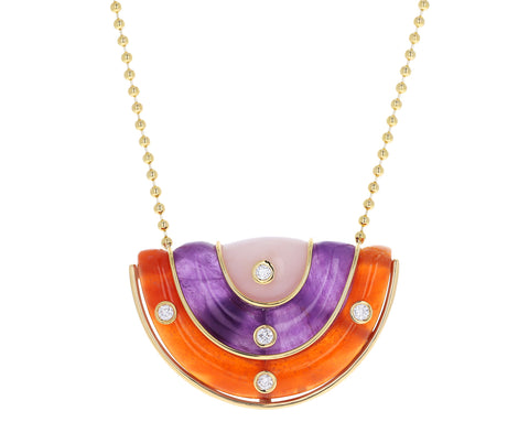 Medium Carnelian, Amethyst and Pink Opal Marianne Necklace