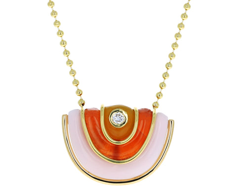 Small Pink Opal, Carnelian and Yellow Chalcedony Marianne Necklace