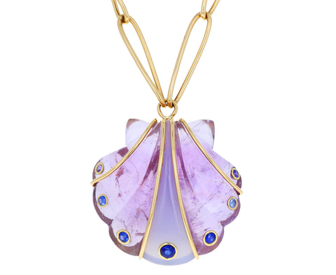 Amethyst, Chalcedony and Sapphire Clamshell Necklace