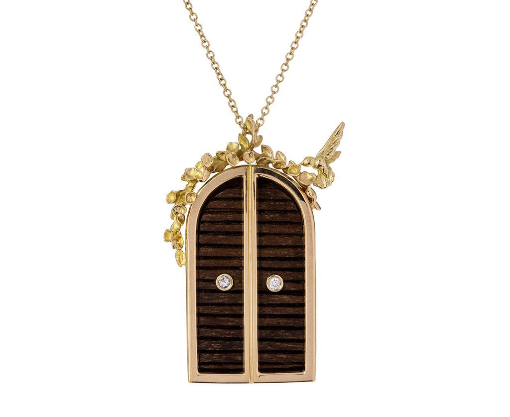 Ebony and Diamond Floral Archway Door Pendant zoom 1_brent_neale_wood_diamond_floral_door_necklace