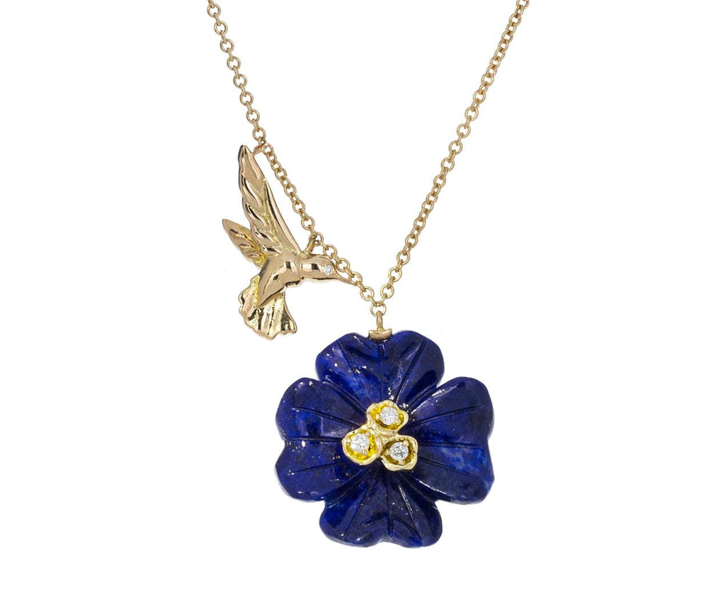 Lapis Clover and Hummingbird Charm Necklace zoom 1_brent_neale_gold_hummingbird_clover_necklace