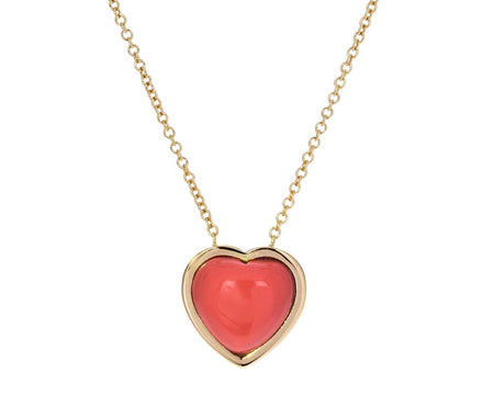 Small Natural Coral Puff Heart Necklace - TWISTonline