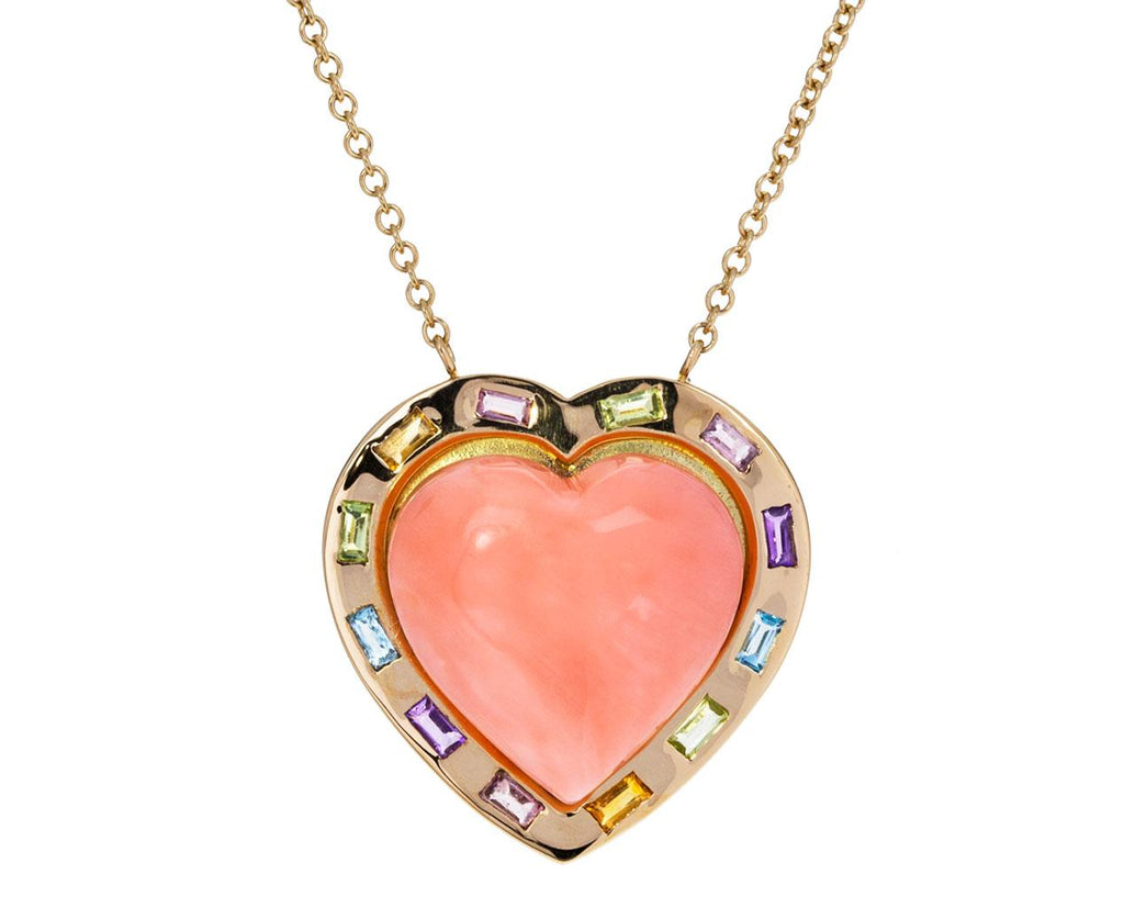 Large Natural Coral  Multi-Gem Puffed Heart Necklace zoom 1_brent_neale_gold_coral_large_puff_heart_necklace