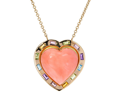 Large Natural Coral  Multi-Gem Puffed Heart Necklace - TWISTonline