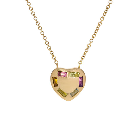 Small Multi Gem Puffed Heart Necklace
