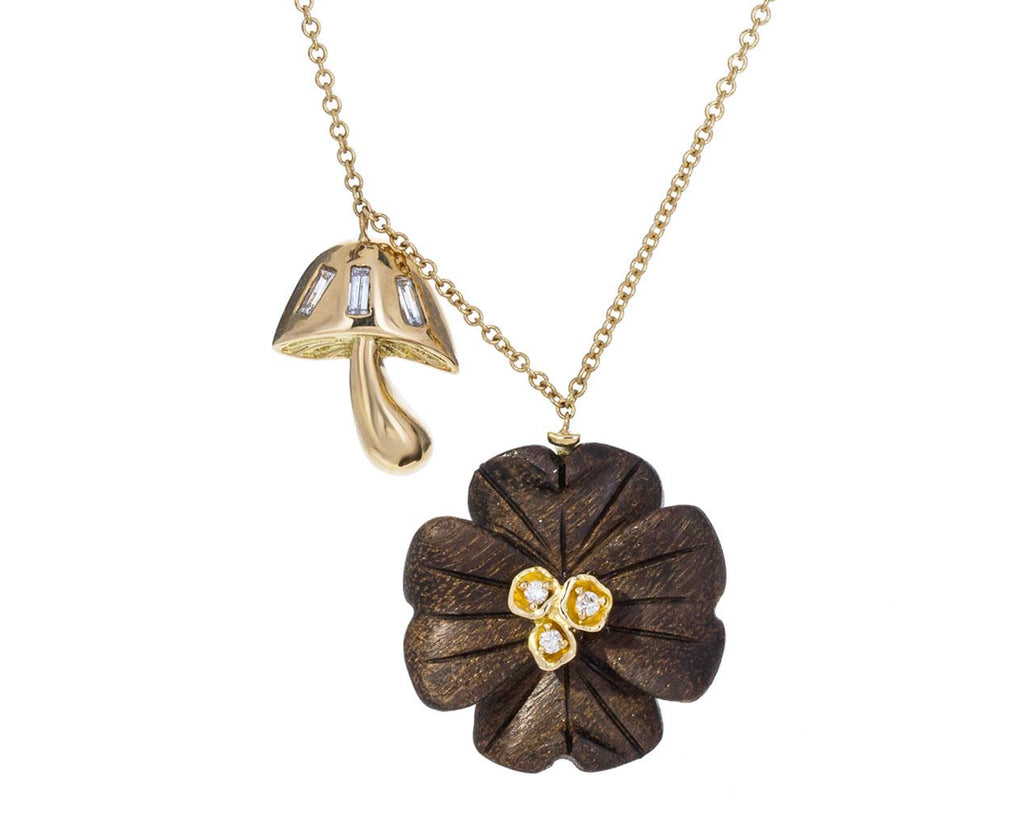 Diamond Ebony Clover Flower and Mushroom Necklace zoom 1_brent_neale_gold_magic_mushroom_clover_necklace